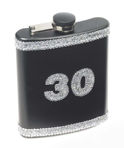 Forum Novelties 30th Birthday Black Glitter Flask