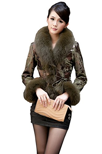 Queenshiny New Style Female Sheep Leather Coat Jacket with Fox Collar-Military Green-M(8-10)
