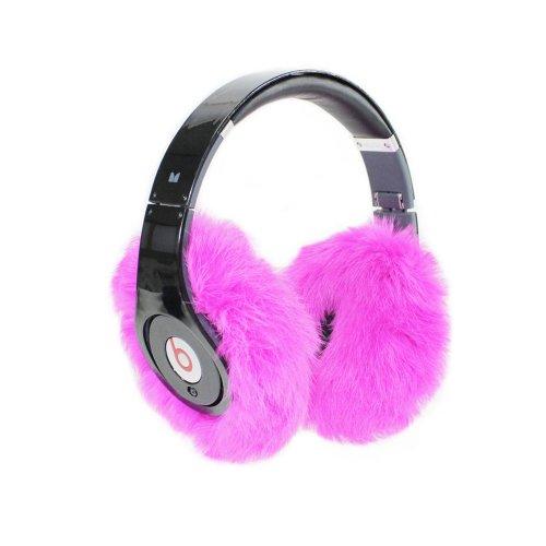 Earmuffies - Fur Earmuff Covers For Headphones - Large Rabbit Fuchsia (Fits Beats Beats Studio/Executive And Other Popular Headphones)