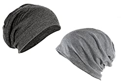 Combo of Coal Grey & Classic Grey Slouchy Beanie