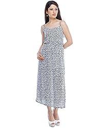 Binny Creation Women's Art Crepe White Western Dress (Tunic) (BWD-11023)