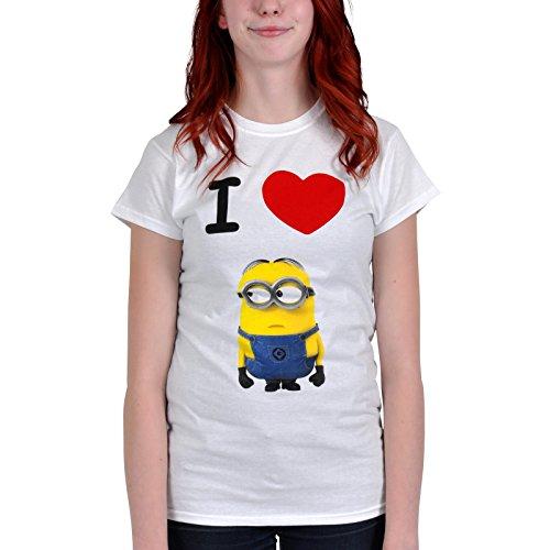 Despicable Cattivissimo Me 2 Ladies Maglietta Maglia T Shirt I Love Minions Size M