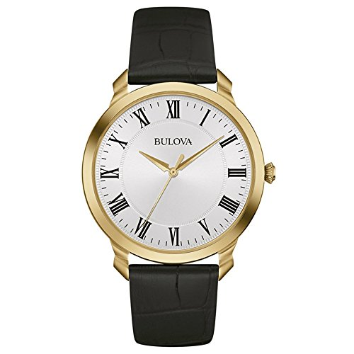 Bulova Classic Dress Men's Quartz Watch with White Dial Analogue Display and Black Stainless Steel Gold Plated Strap 97A123