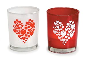 WeGlow International Red and White Glaze Heart Glass Candle Holders, 4 Candle Holders, Assorted