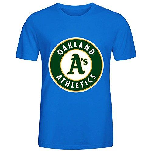 MLB Oakland Athletics Team Logo Crew Neck Men Graphic T Shirts Blue (Fish Space Pen compare prices)