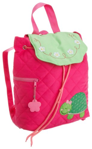 Stephen Joseph Girls 2-6x Quilted Backpack Turtle,Hot Pink/Lime Green,One Size