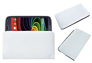 Acm Rich Leather Soft Case For Byond Phablet P1 Mobile Handpouch Cover Carry White