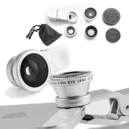 Camkix Universal 3 in 1 Camera Lens Kit for Smart phones (iphone, Galaxy, HTC, Motorola), Ipad, Ipod touch, Laptops / One Fish Eye Lens / One 2 in 1 Macro Lens and Wide Angle Lens / One Universal Clip / One Microfiber Carrying Bag with Camkix retail packaging(Silver)