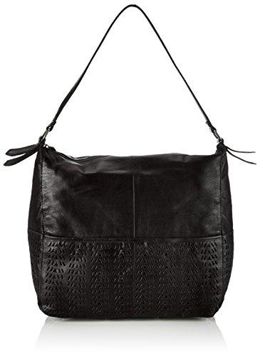 PIECES Pcnatalie Leather Bag, Borsa a mano donna, Nero (Nero (nero)), 36x34x14 cm (B x H x T)