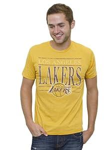 NBA Los Angeles Lakers Mens Vintage Heather Short Sleeve Crew T-Shirt, Mustard by Junk Food