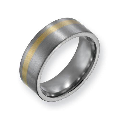 Titanium 14k Gold Inlay 8mm Satin Finish Comfort Fit Wedding Band Ring (SIZE 9 )