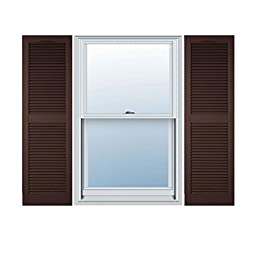 Ekena Millwork LL1S12X06700FB Lifetime Vinyl, Standard Cathedral Top Center Mullion, Open Louver Shutters with Shutter-Loks (Per Pair), Federal Brown, 12\