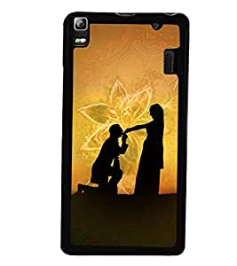 Fuson Premium My Love Metal Printed with Hard Plastic Back Case Cover for Lenovo A7000