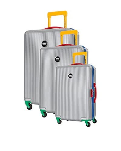 Bag Stone Set de 3 trolleys rígidos Plateado