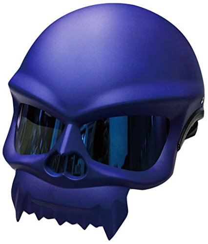 Masei ハーフヘルメット 429 スカルフェイス1 マットブルー L MM40-0117-BL-L