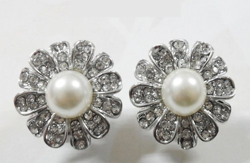 Radiant Crystal and White Pearl Flower Clip-On Earring with Silver