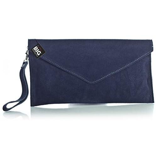 Big Handbag Shop Women's Real Italian Suede Leather Envelope Clutch Bag
