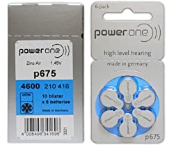 PowerOne Hearing Aid Battery P675 (60 Pcs)