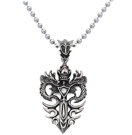 Stainless Steel Sword with Double Dragon CZ Necklace 20IN