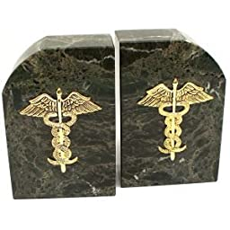 Verdigris Marble Medical Bookends