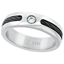 buy Surgical Steel Cz Wedding Band Ring Blackened Rope 6Mm, Size 10