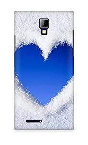 AMEZ Blue Love Heart Of Snow Back Cover For Micromax Canvas Express A99