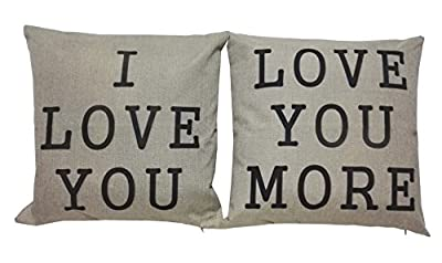 "Lydealife ?TM?18 X 18"" Cotton Linen Decorative Couple Throw Pillow Cover Cushion Case Couple Pillow Case, Set of 2 - I Love You & Love you More LD094"