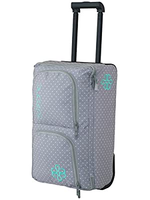 Roller Bag Carry On Luggage, 40L, Overhead Storage Bag, Travel Bag, Wheeled Luggage Navy/Grey Polka Dot