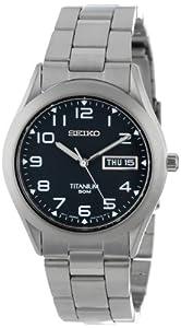 Seiko Men's SGG711 Black Dial Titanium Watch