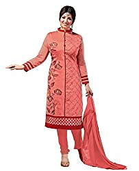 Ethnic For You Chanderi Unstitched Salwar Suit Dress Materials(Dark Peach)
