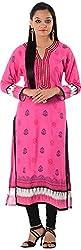 Kaashvi Creations Women's Cotton Straight Kurta (99901000000074-S, Pink, Small)