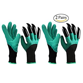 Garden Genie Gloves with Claws Hand, Aonesy 2 Pairs Gardener Gloves for Easy Digging and Planting Pruning Weeding Seeding Poking As On TV
