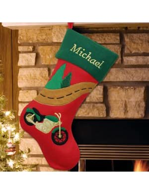 Embroidered Motorcycle Christmas Stocking