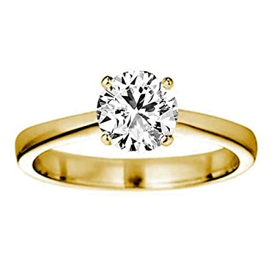 1.05 Carat F/VS1 Round Brilliant Certified Diamond Solitaire Engagement Ring in 18k Yellow Gold