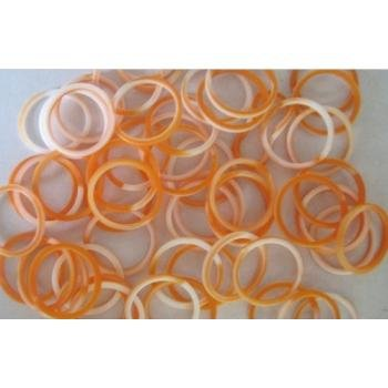 Orange and White Swirl 100 Silicone Bands with Super C-clips