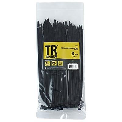 "TR Industrial TR88302 Multi-Purpose Cable Ties (100 Piece), 8"", Black from Capri Tools"
