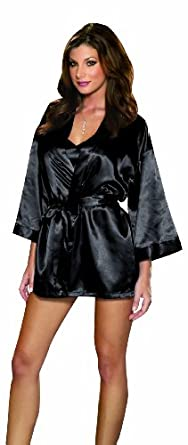 Dreamgirl Women's Shalimar Charmeuse Babydoll with Robe & Padded Hanger, Black, Small