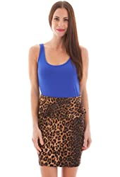G2 Fashion Square Women's Lace Back Leopard Print Fitted Peplum Party Dress