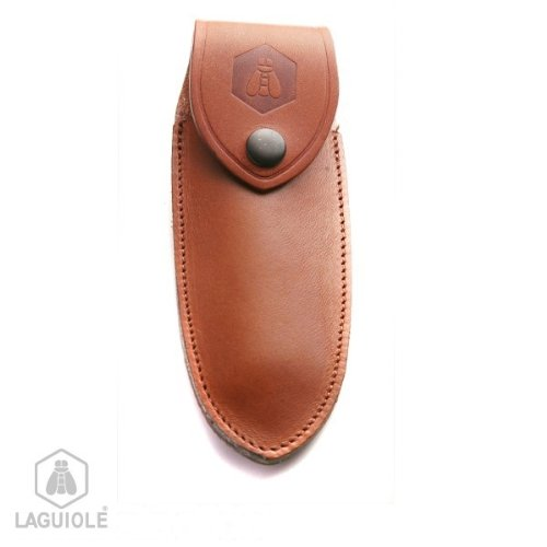 Laguiole Brown Leather Case With Inlaid Logo. It Can Be Attached To A Belt