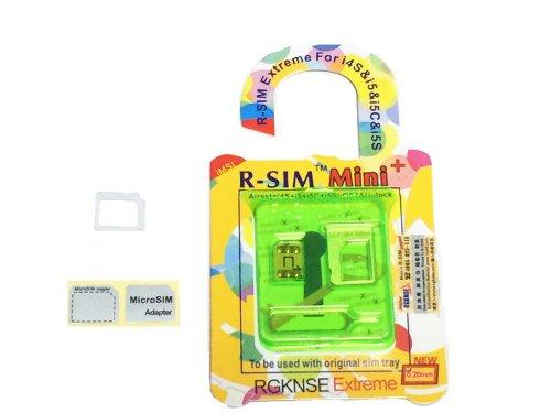 ios7にも対応(透明アダプタ1個付) R-SIM mini+ 純正のSIMトレイで使用可能 iPhone5S+5C+5  DOCOMO AU SOFTBANK r-sim miniプラス  Unlock Nano-SIM ロック 解除 r-sim mini+ 操作簡単 R-SIMミニプラス GPP gevey関連品