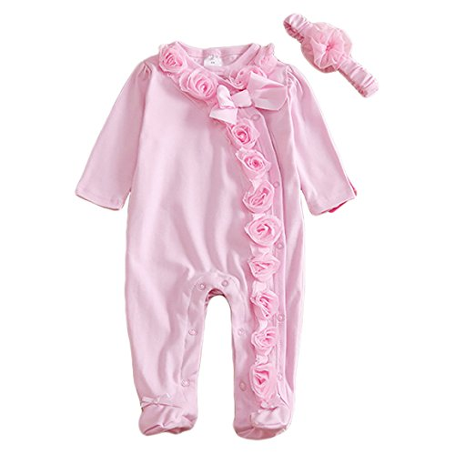 Infant Girls' Winter Rose Flowers Long Sleeve Footed Sleeper 3D Solid Snap on One Piece Jumpsuit Clothes Baby Sleepwear 6-9 Months Pink
