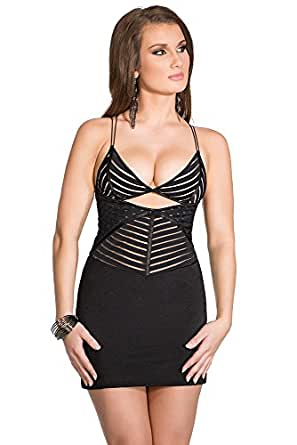 Amazon.com: Coquette Women's Sheer Striped Dress: Clothing