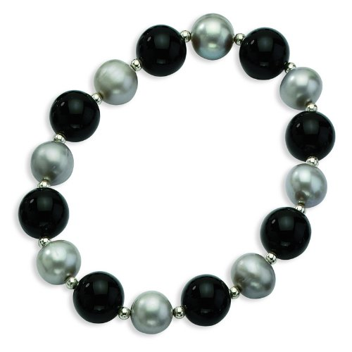 Silver 12mm Black Agate/10mm FW Cultured Silver Pearl Necklace. 18in long Chain.