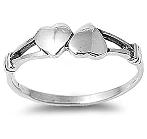Sterling Silver Double Heart Ring Love Commitment Hearts Band 925 Size 2 Black Friday Deal 2015 (RNG12710-2)