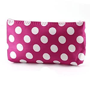 White Dots Zippered Closure Fuchsia Makeup Pouch Bag for Ladies