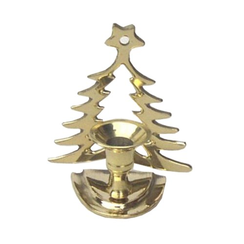 Standing Brass Candleholder for Taper Candle with Christmas Tree