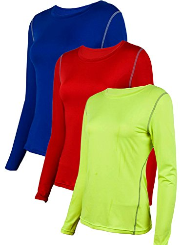 Neleus Women's 3 Pack Dry Fit Athletic Compression Long Sleeve T Shirt,Blue,Green,Red,US S /Tag M