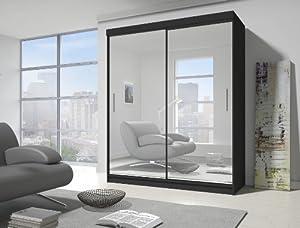 Sliding door mirrored wardrobe with full length mirror in ...