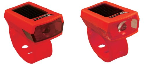 Owleye Twinpack Solar Powered LI-ion Rechargeable LED Headlight & Taillight Set Red. BE SAFE - BE SEEN !!