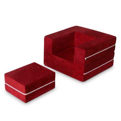 Jaxx Zipline Modular Kids Chair & Ottoman / Fold-Out Lounger, Cherry (Jaxx Modular compare prices)